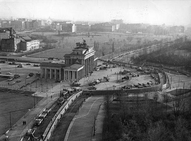 Vista aérea Puerta Brandeburgo Muro Puerta Brandeburgo Muro berlinerlin
